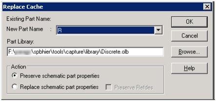 OrCAD Capture Replace Cache dialog box