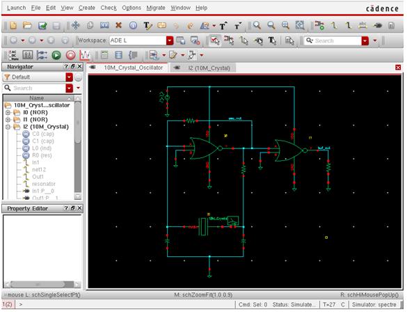 Pierce CMOS 10MHz oscillator schematic
