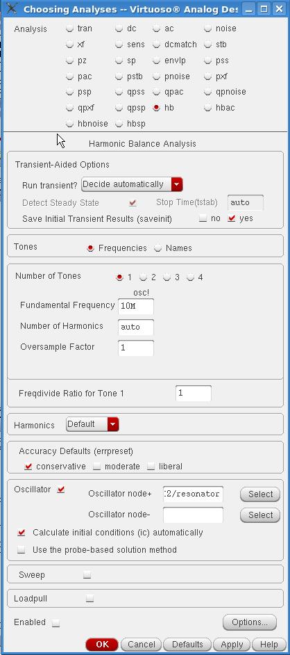 Harmonic Balance Choosing Analyses