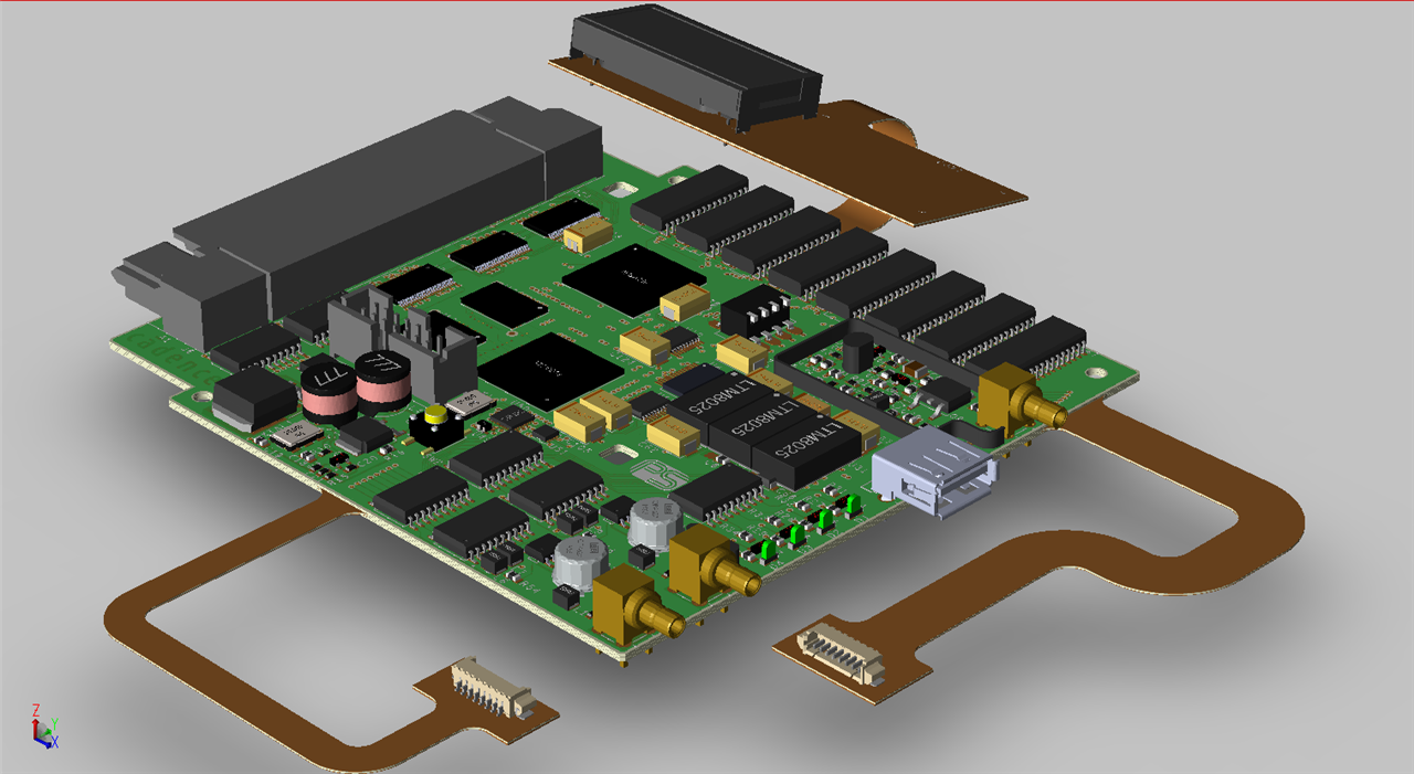 PCB Circuit Board with Bend in 3D Canvas