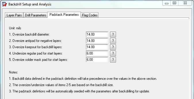 Padstack Parameters
