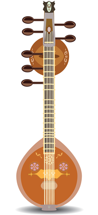 Drawing of a Sitar