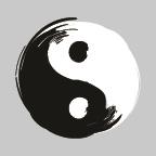 Yin Yang on silver background