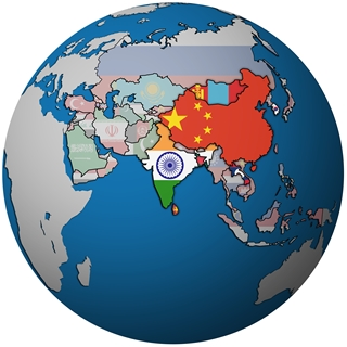 Globe with Asia highlighted