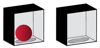 Two boxes, one with a ball