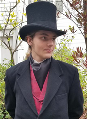 My son, modeling his Victorian garb