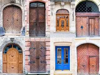 Collage of fancy doors