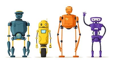 Four stylized robots