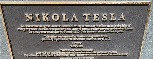 tesla statue plaque