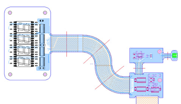 Graphic illustrates DRC rigid-flex design in Allegro PCB Editor