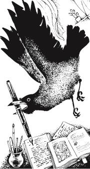 A raven holding a pen