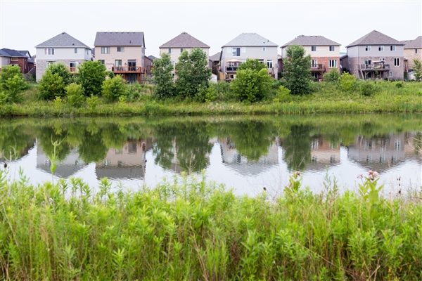 Homes and pond