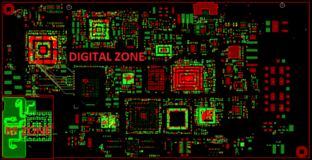 Layout with zone defined for RF and digital