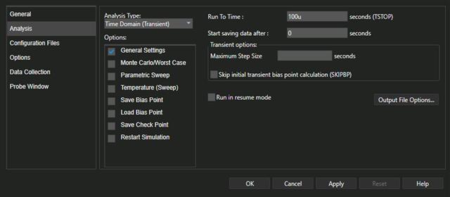 Analysis Tab of Simulation Settings