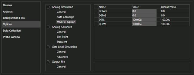 Options Tab of Simulation Settings