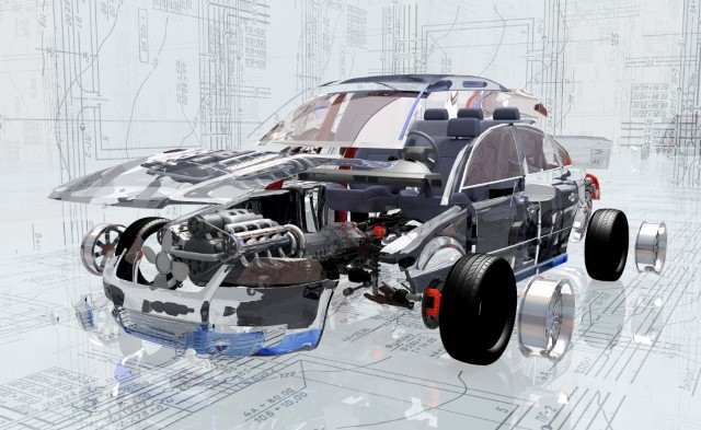 Disassembled car on the background of the drawing