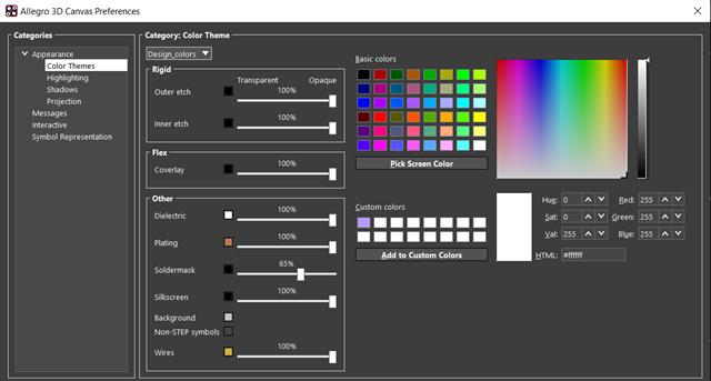 3D Canvas Preferences