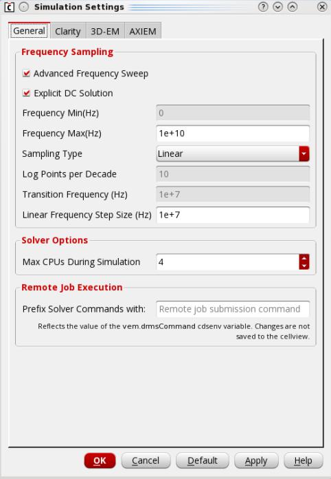 simulation settings