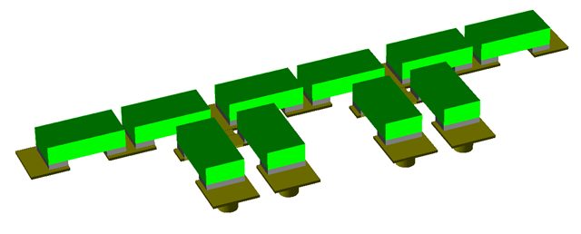 Schematic layout with SMT components