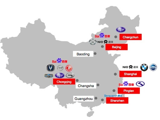 map of china autonomous vehicle tests