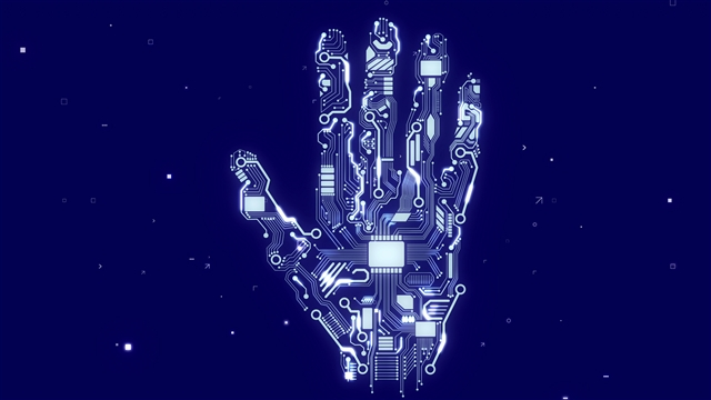 Robotic hand with microchips