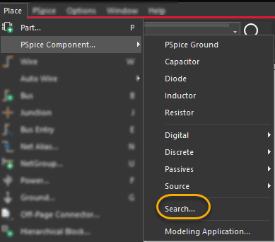 Search option in the Place - PSpice Component menu