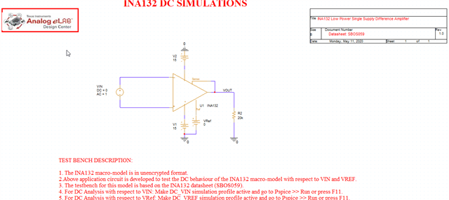 Test circuit with INA154
