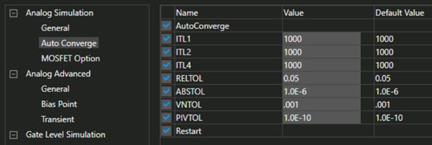 Auto Converge parameters of the Analog Simulation category in Options of the Simulation Settings dialog box.