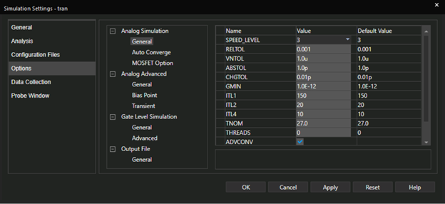 Simulations Settings form showing Options Highlighted and the parameters in the General section under Analog Simulation.