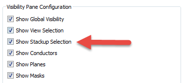 Visibility Pane Configuration Settings
